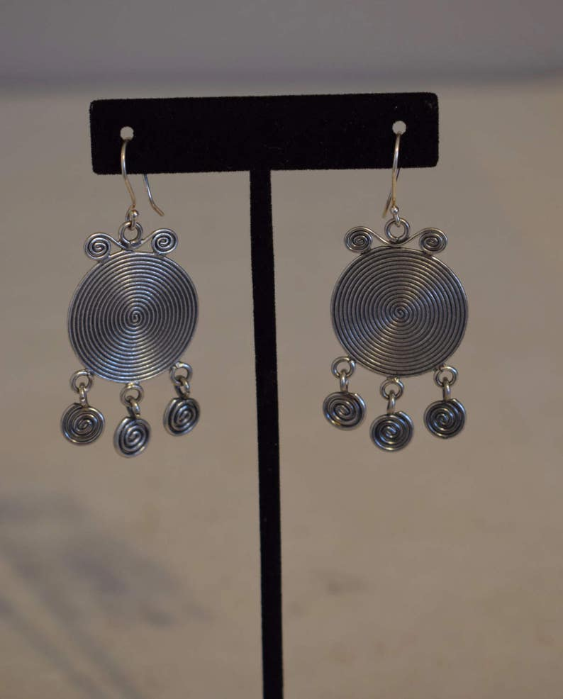 Earrings Silver Miao Hmong Etched Round Etched Coil Dangle Hill Tribe Handmade Triangle Round Coil Dangle Tribal Silver Earrings