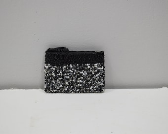 Purse Beaded Black White Pebbled Small Clutch Purse