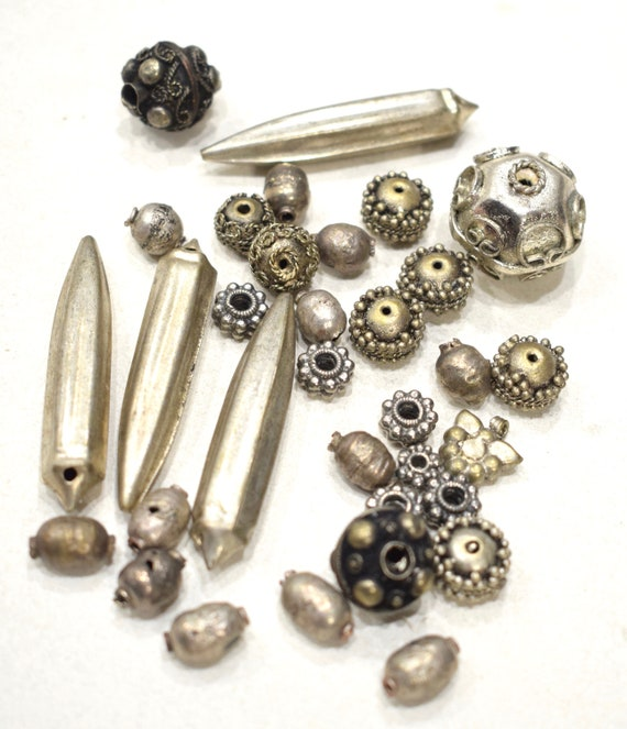 Beads Old Silver Mixed Bag Beads 9mm-50mm