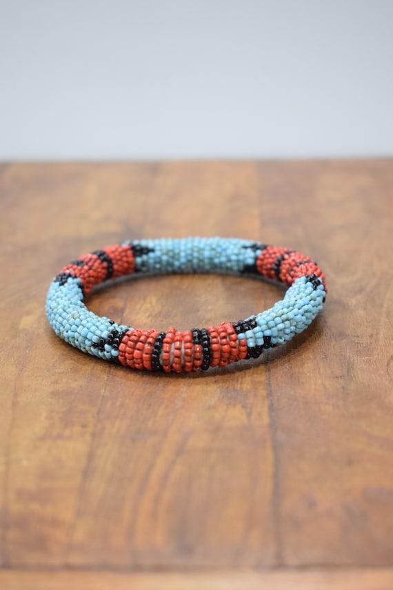 Bracelet Beaded Turquoise Red Black Bead Bangle Bracelet