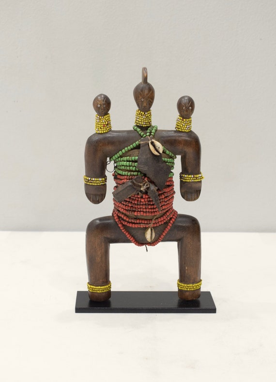 African Doll Namji Cameroon Beaded Wood Fertility Cowrie Shell Namji Doll