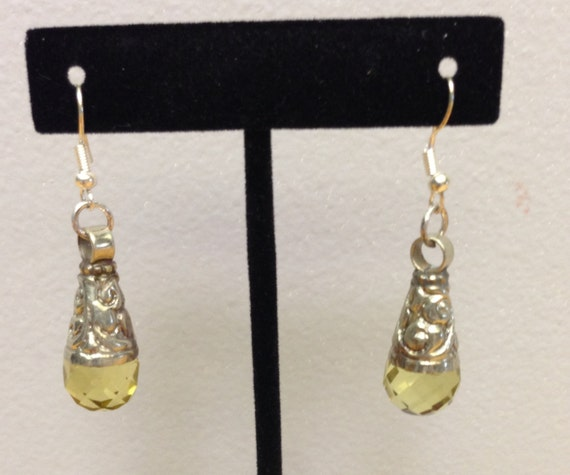 Tibetan Earrings Silver Handmade Handcrafted Yellow Citrine Dangle Etched Silver Teardrop Gift for Her Jewelry Earrings Birthday