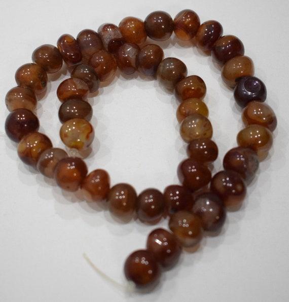 Beads Carnelian Chinese Pumpkin Beads 13mm - 14mm