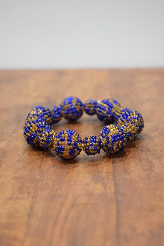 Bracelet Beaded Blue Gold Bead Elastic Bracelet