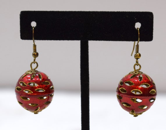 Earrings Gold Red Aluminum Cut out Ball Dangle Earrings 40mm