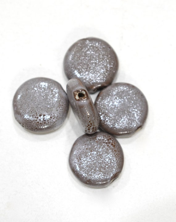 Beads Gray Porcelain Round Beads 20mm
