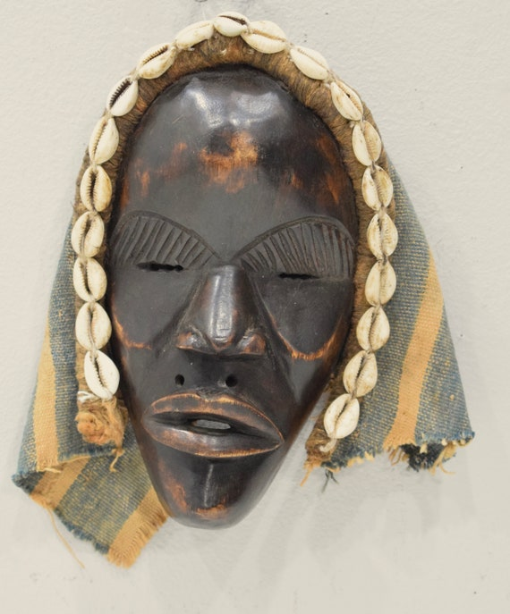 Africa Mask Dan Carved Wood Burnished Cloth Cowrie Shells Dan Mask