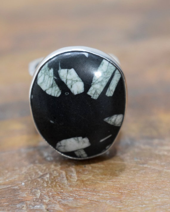 Ring Sterling Silver Snowflake Obsidian Ring