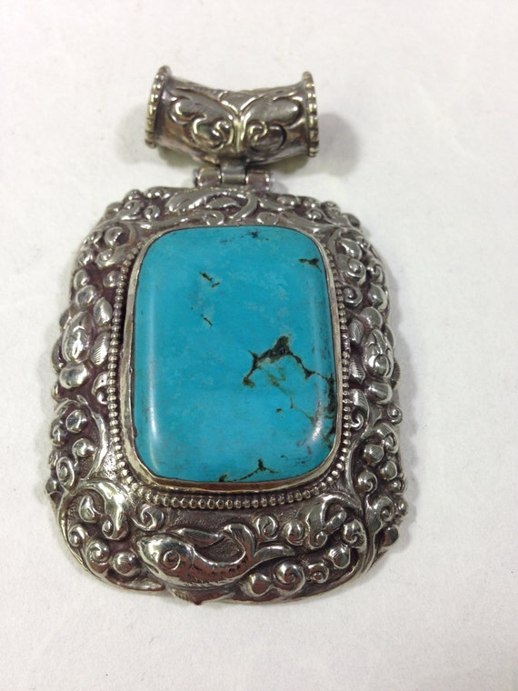 Pendant Tibetan Turquoise Ornate Embellished Silver Handcrafted Handmade Pendant Necklace Jewelry Unique Turquoise Statement