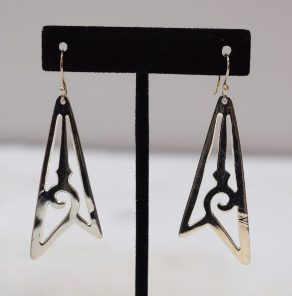 Earrings Sterling Silver Abstract Triangle Dangle Earrings 65mm