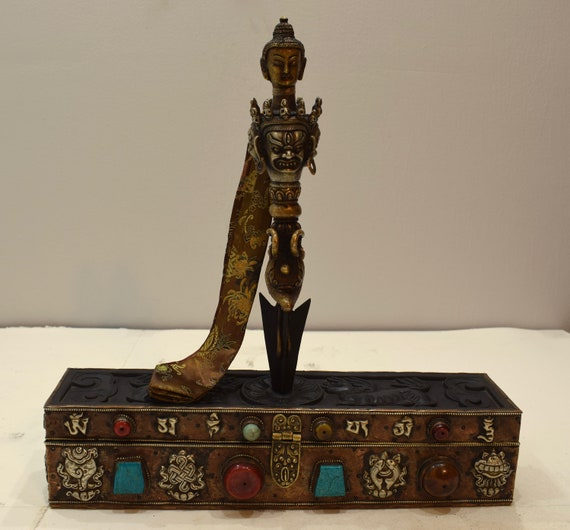 Tibetan Kila Phurba Dagger with Brass Turquoise Coral Amber Etched Wood Box