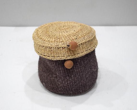 Basket Indonesian Round Woven Sisal Box