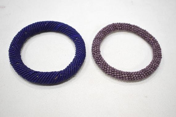 "African 2 Masai Colored Bangle Bracelets Kenya 4 1/2-4.5"""