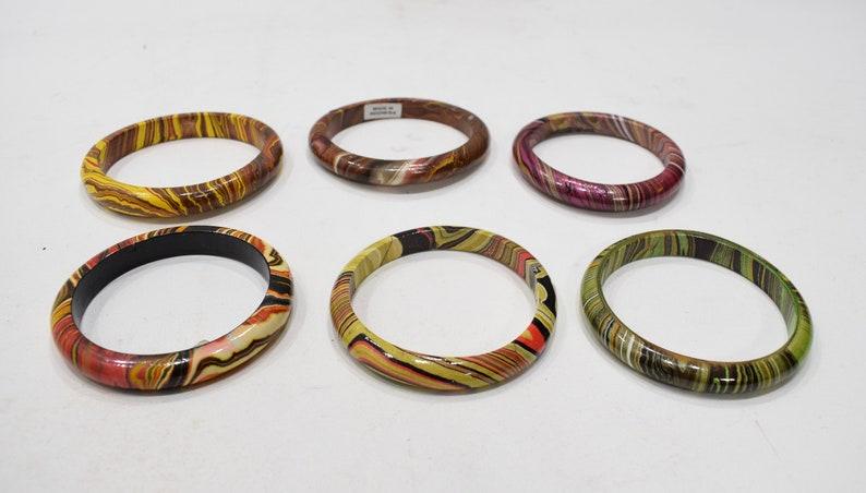 Bracelets Painted Wood Assorted Bangle Bracelets