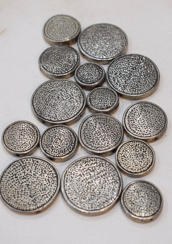 Beads Silver Assorted Textured Flat Round Beads Necklaces Silver Beads 20mm - 35mm