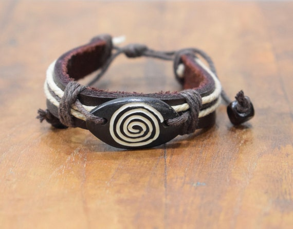 Bracelet Brown Leather Beige Hemp Brown Batik Bone Tie Bracelet