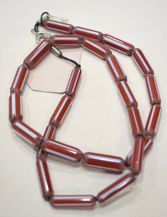 Beads India Red Blue Stripped Chevron Glass 25-26mm