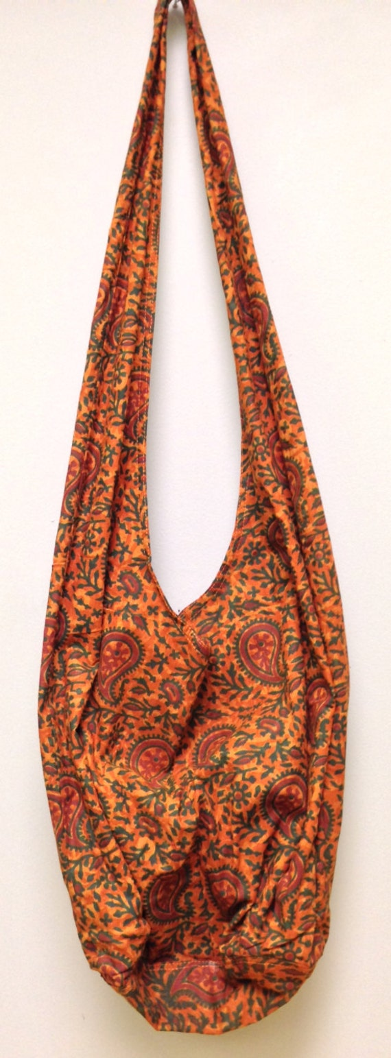 India Orange Paisley Shoulder Bag Handmade Cotton Hand Sewn Colorful Hand Stamped Fabric Gift for Her India Fun Shoulder Bag