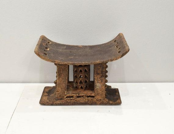 African Ashanti Stool Ghana Ceremonial Old Hand Carved Ashanti Stool