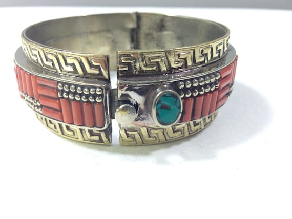Tibetan Bracelet Round Embellished Silver Cuff Orange Coral Bracelet Handmade Handcrafted Jewelry Tribal  Statement Unique