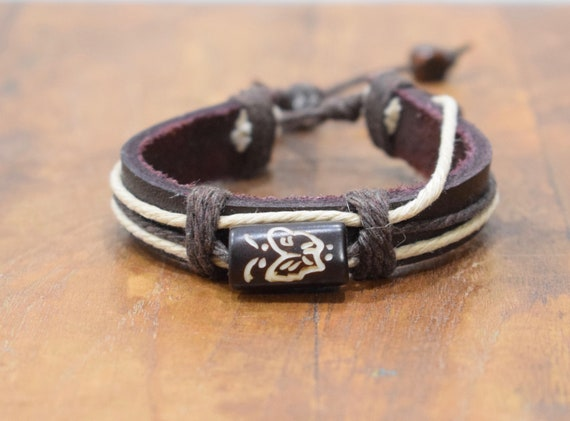 Bracelet Brown Leather Beige Hemp Batik Bone Butterfly Tie Bracelet