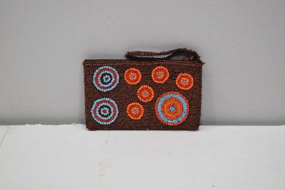 Purse Beaded Orange Brown Blue Circle Clutch Purse