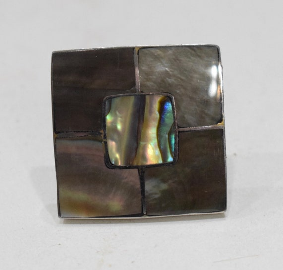 Ring Inlaid Mother of Pearl Silver Adjustable Ring Indonesia