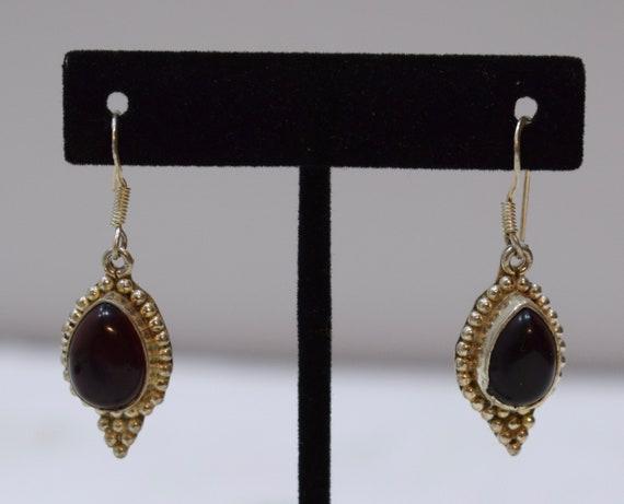 Earrings Sterling Silver Beaded Garnet Red Glass Earring 40mm
