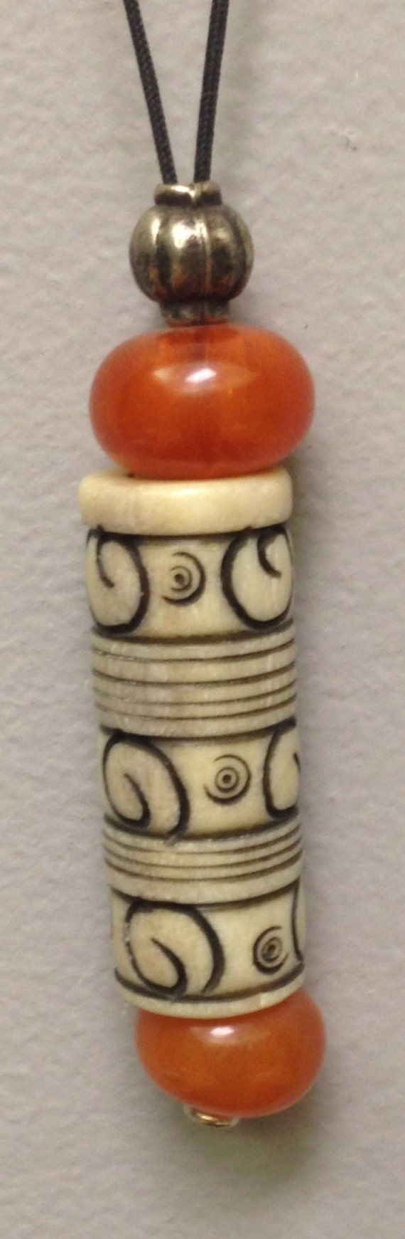 Indonesian Necklace Amber Resin Handmade Handcarved Bone Cord Necklace Jewelry Cord Gift for Her Fun