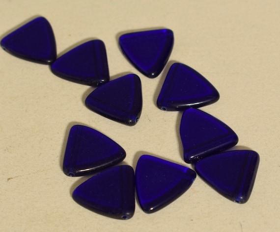 Beads Wedding Glass Blue Triangle Czechoslovakian Beads 18mm