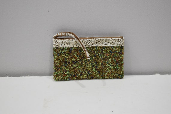 Purse Beaded Green Iridescent Clutch Purse