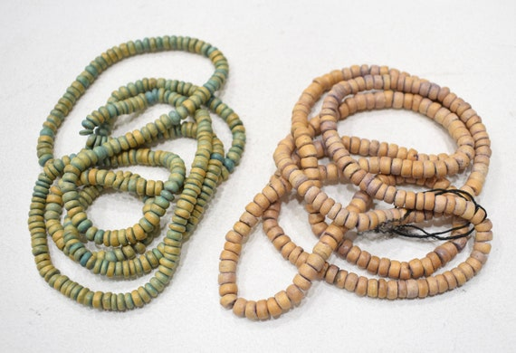 Beads Philippine Green/Brown Coconut Heishi 6mm