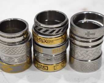 Rings 13 Assorted Bag Stainless Steel Spinner and Band Rings