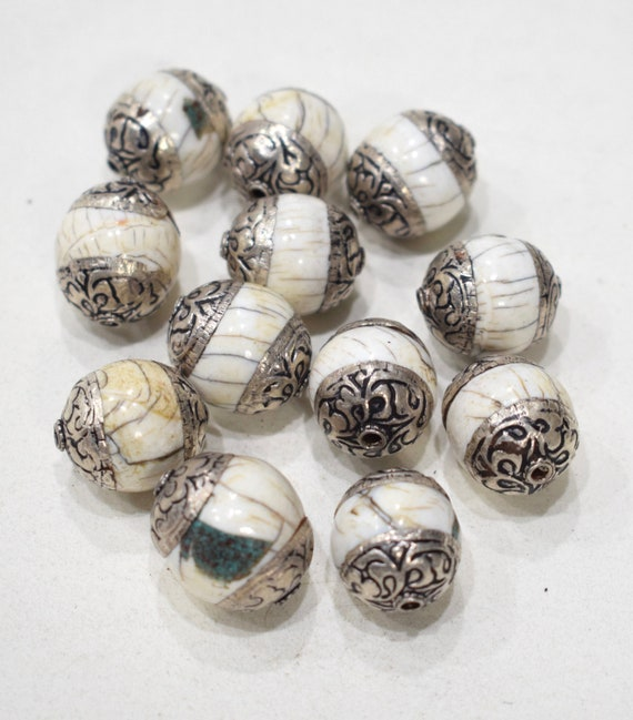 Beads Tibetan Conch Shell Silver Beads 18-20mm