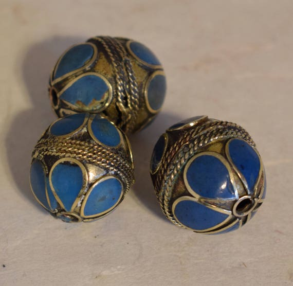 Beads Middle Eastern Turquoise Brass Oval Beads Handmade Handcrafted 5 Lot Turquoise Beads Brass Crafts Jewelry Beads