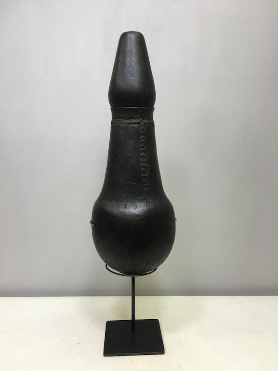 African Jug Wood Milk Samburu Black Wood Tribe Kenya Handmade  Drinking Carved Flask Milk Treasured Jug