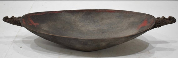Papua New Guinea Bowl  Ramu River Wood Feasting Ceremonial Bowl Alligator Handles