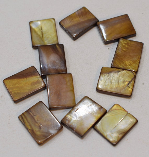 Beads Capiz Gold Shell Rectangular Beads Necklaces Shell Beads 20mm