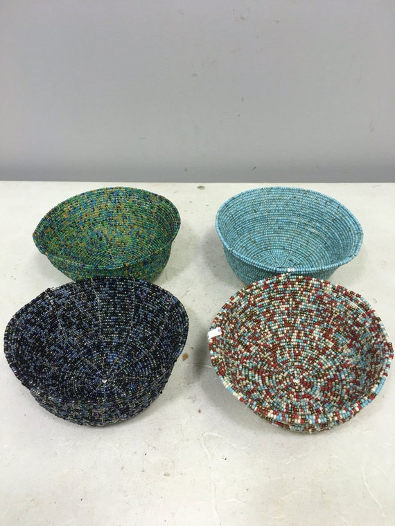 Baskets Indonesian Assorted Round Wire Beaded Baskets  Handmade Hand Beaded Blue Green Beaded Basket Gift for Her Home Decor