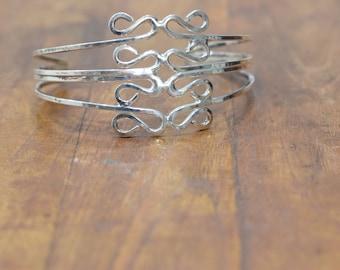 Bracelet Plated Silver Swirl Stacked Cuff Bracelet