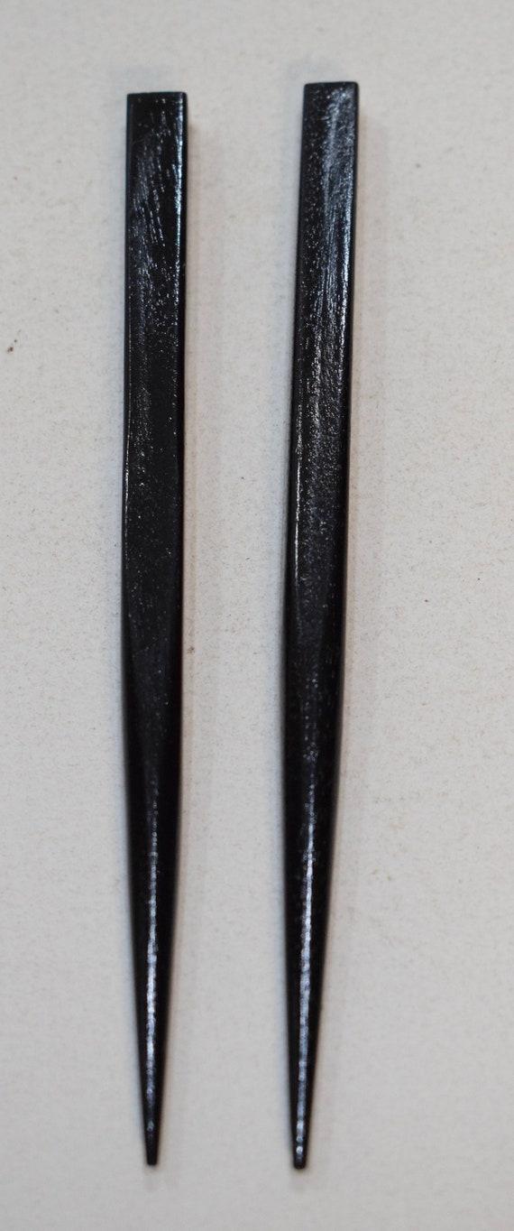 """Beads Black Wood Hair Sticks Indonesia Vintage 5"""""""