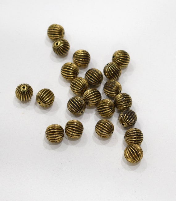 Beads Grooved Gold Round Beads 12mm
