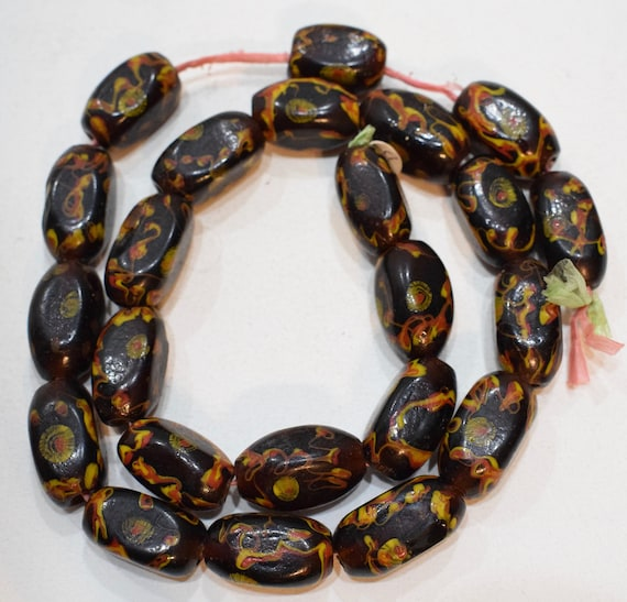 Beads Lampwork Glass Brown Vintage Oval Beads 25mm - 28mm