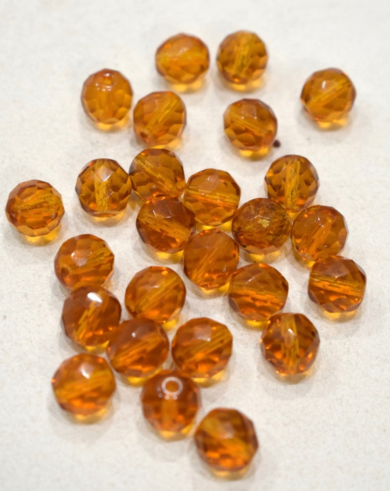Beads Czechoslovakian Faceted Brown Crystal Beads 10mm