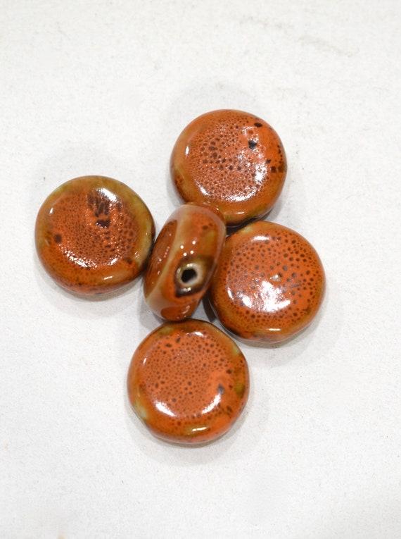 Beads Orange Porcelain Round Beads 20mm