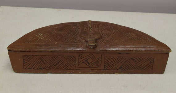 African Box Kuba Carved Wood Tukula Powder Box Congo Handmade Hand Carved Wood Red Powder TribalTukula Box