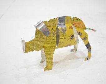 African Folk Art Toy Pig Recycled Tin Can Pig Tanzania Toy Pig