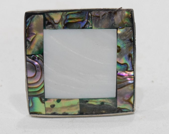 Featured listing image: Ring Inlaid Mother of Pearl Silver Adjustable Ring Indonesia