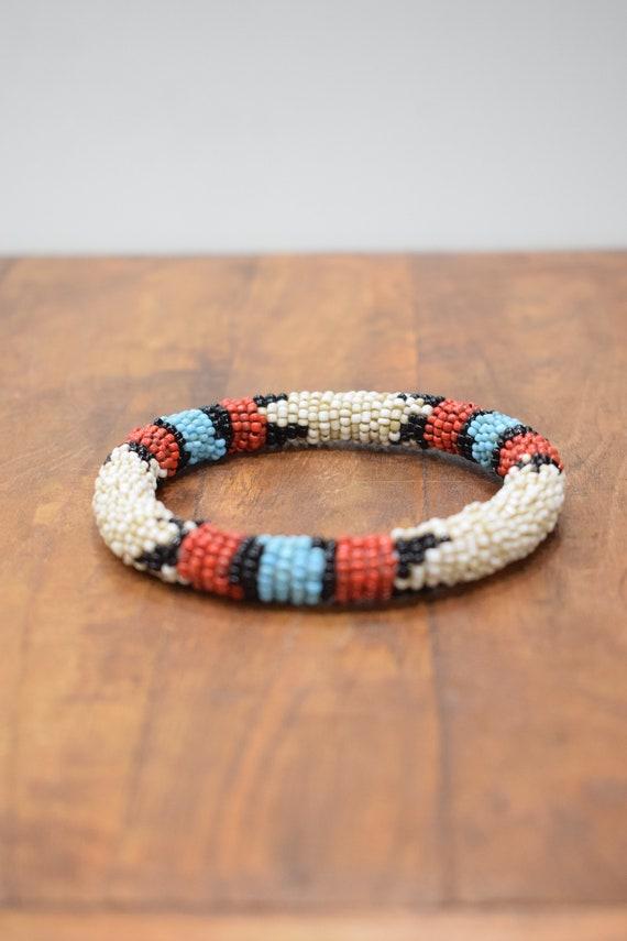 Bracelet Beaded Red Blue Black White Bead Bangle Bracelet