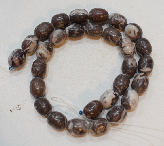Beads Philippine Oval Brown White Stone Beads Vintage 15mm